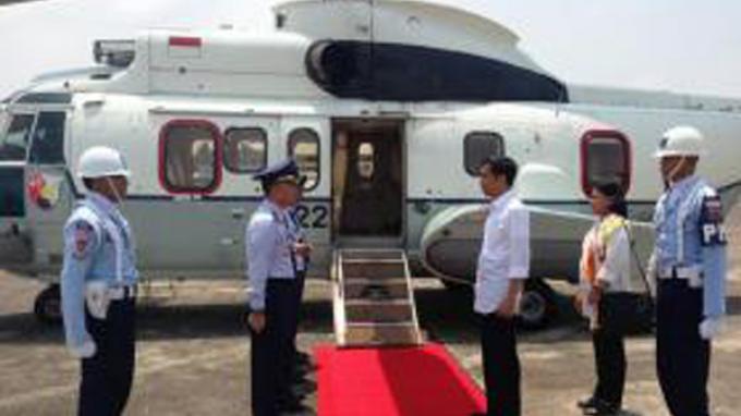 Gunakan Helikopter Pagi ini Presiden Jokowi Menuju Etikong