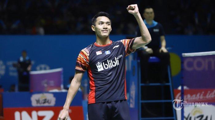 Jonatan Christie saat bertanding pada babak II Indonesia Open 2019