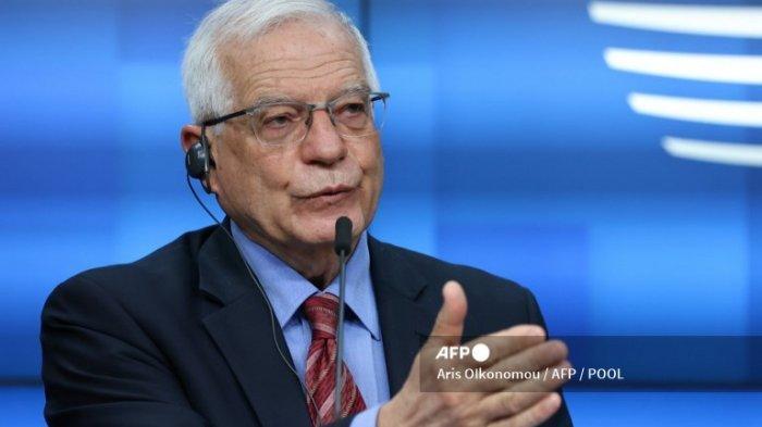 Kepala kebijakan luar negeri Uni Eropa Josep Borrell berbicara selama konferensi pers setelah pertemuan para menteri luar negeri Uni Eropa di Brussel pada 22 Maret 2021.