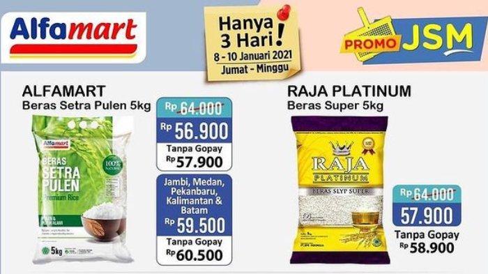 Promo JSM Alfamart 8-10 Januari 2021, Beras Setra Pulen 5 Kg Hanya Rp 56.900 dengan Gopay