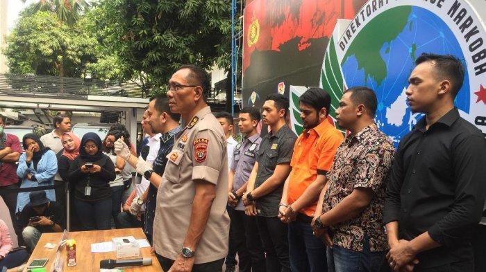 Jumpa pers penangkapan aktor Rio Reifan terkait narkoba di Ditresnarkoba Polda Metro Jaya, Jumat (16/7/2019).