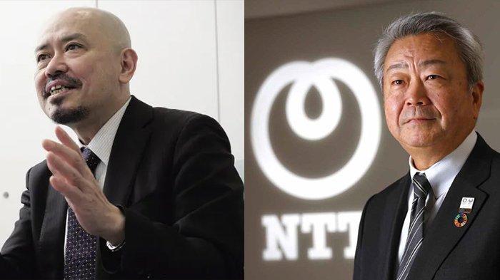 Presiden NTT Jun Sawada (kanan) dan Presiden Tohokushinsha Shinya Nakajima (kiri).