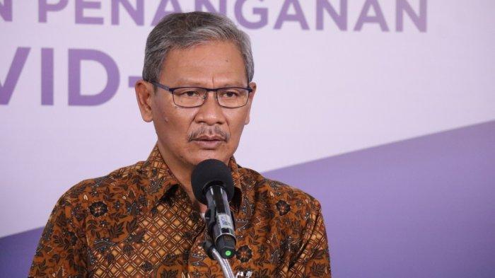 Juru Bicara Pemerintah untuk COVID-19 Achmad Yurianto dalam keterangan resmi di Media Center Gugus Tugas Percepatan Penanganan COVID-19, Graha Badan Nasional Penanggulangan Bencana (BNPB), Jakarta, Kamis (9/7).