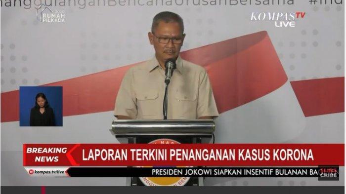 Juru Bicara Pemerintah untuk Penanganan Corona, Achmad Yurianto dalam jumpa pers, Senin (23/3/2020).