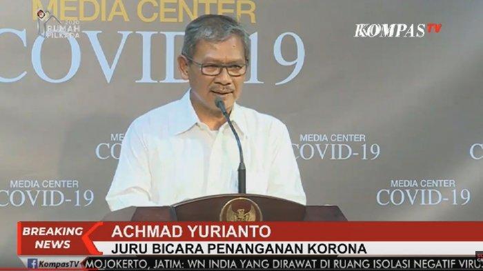 Hasil gambar untuk Juru bicara pemerintah untuk penanganan virus corona Achmad Yurianto