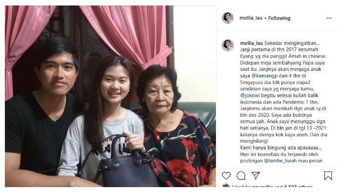 Unggahan Instagram @meilia_lau, Sabtu (6/3/2021), Kaesang disebut berjanji menikahi Felicia Tissue pada Desember 2020. (Instagram @meilia_lau)