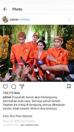 Jokowi Minta Doa Restu Lewat Instagram: Semoga Penuh Berkah, Hajatan Ala Orang Kampung