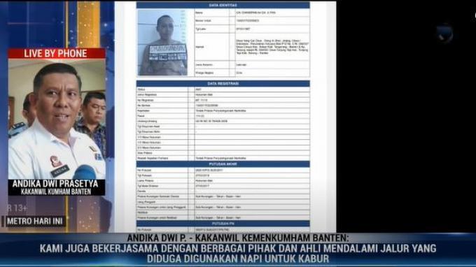 Kakanwil Kementerian Hukum dan Hak Asasi Manusia (Kemenkumham) Banten Andika Dwi Prasetia