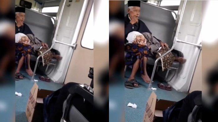 VIRAL Video Seorang Kakek Jadi Pangkuan Tidur Seorang Nenek, 'Ini Bukti Cinta Sejati'