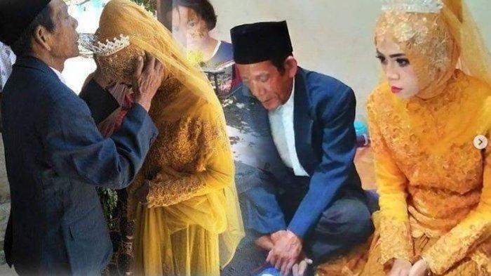 Foto pernikahan Kakek Sudirgo (83) dengan Nuraeni (27) di kediamannya RT 3 RW 5 Desa Pagerbarang, Kecamatan Pagerbarang, Kabupaten Tegal, Senin (19/8/2019). Tribunjateng.com/Akhtur Gumilang