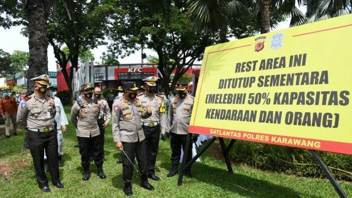 Cegah Covid-19, Korlantas Polri Awasi Ketat Pembatasan Pengunjung Rest Area di Tol Jakarta-Cikampek
