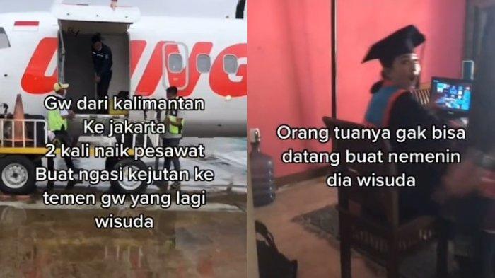 VIRAL Pemuda Rela 2 Kali Naik Pesawat dari Kalimantan ke Jakarta demi Datangi Wisuda Online Sahabat