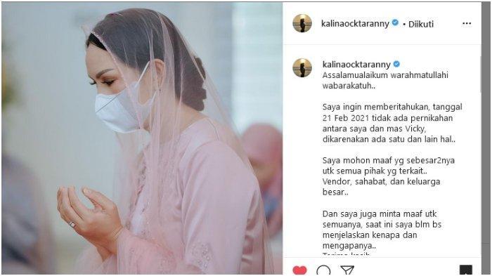 Kalina Oktarani Mendadak Kabarkan Tak Ada Pernikahan dengan Vicky Prasetyo di Tanggal 21 Februari 2021