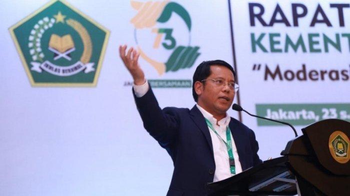Direktur Jenderal Bimas Islam Kemenag RI, Kamaruddin Amin, saat membuka rapat koordinasi terkait yang dilakukan dalam bentuk webinar yang diikuti lebih dari seribu aparatur Kementerian Agama di seluruh Indonesia, Selasa, (20/10/2020).