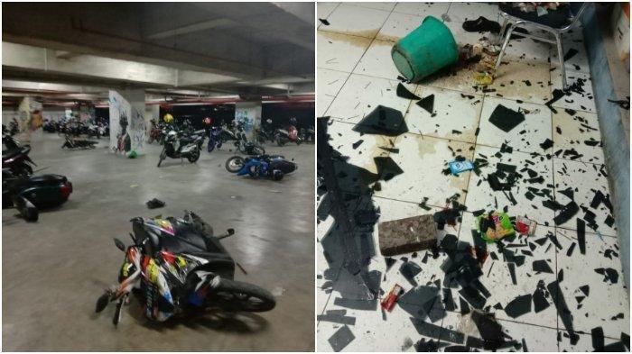 Kaca bangunan kampus Unifa di Jalan Prof Abdurrahman Basalamah, Makassar, Sulsel, pecah pada Senin (2/12/2019) malam. Sejumlah sepeda motor tergeletak di basement area parkir motor.