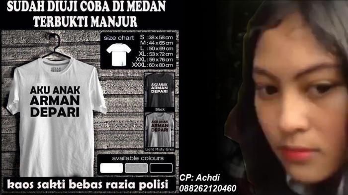 Kaos 'Aku Anak Arman Depari' Dijual di Medan