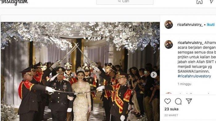 Pesta pernikahan digelar oleh Kompol Fahrul Sudiana di tengah pandemi virus corona pada 21 Maret 2020 di Hotel Mulia.