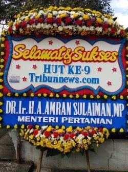 Menteri Amran Sulaiman Kirim Karangan Bunga Ucapan Selamat Ulang Tahun Ke-9 Tribunnews