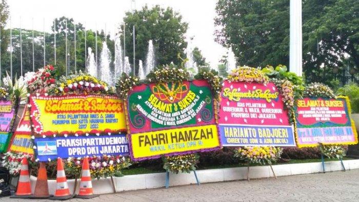 Ini Identitas Mereka yang Mengirim Karangan Bunga untuk Anies-Sandi di Balai Kota DKI