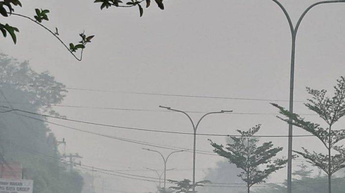 Pemandangan salah satu ruas jalan di Kota Jambi yang terpapar kabut asap.