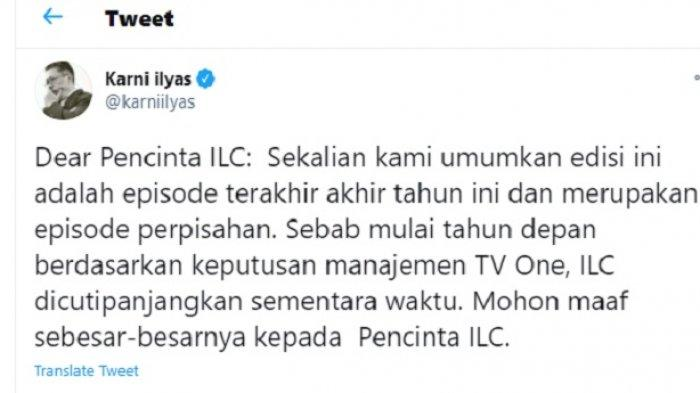 Tak Lagi di tvOne, Indonesia Lawyers Club Bakal Tayang di Platform Digital