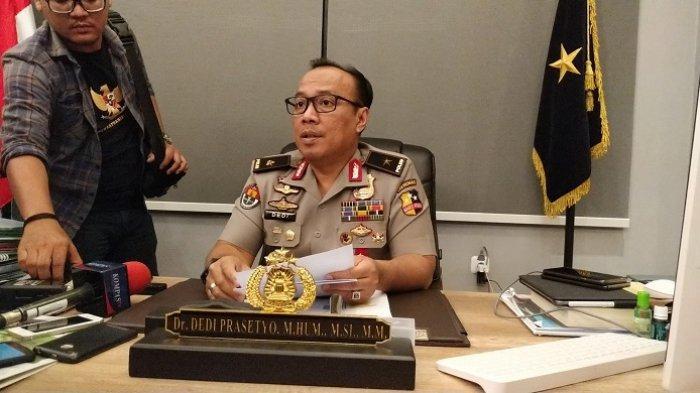 Karopenmas Divisi Humas Polri Brigjen Pol Dedi Prasetyo di Mabes Polri, Jalan Trunojoyo, Kebayoran Baru, Jakarta Selatan, Senin (9/9/2019).