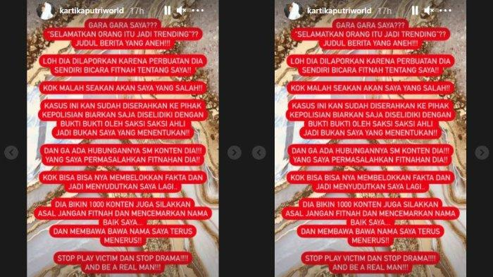 Kisruh tudingan pencemaran nama baik yang melibatkan Kartika Putri dengan seorang dokter kecantikan bernama Richard Lee masih terus bergulir. (Kolase Instagram Story @kartikaputriworld)