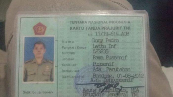 Kartu anggota TNI Donny Pedro, yang disebut Presiden King of The Kings, menyebutkan dia bertugas di Pussenif Bandung.