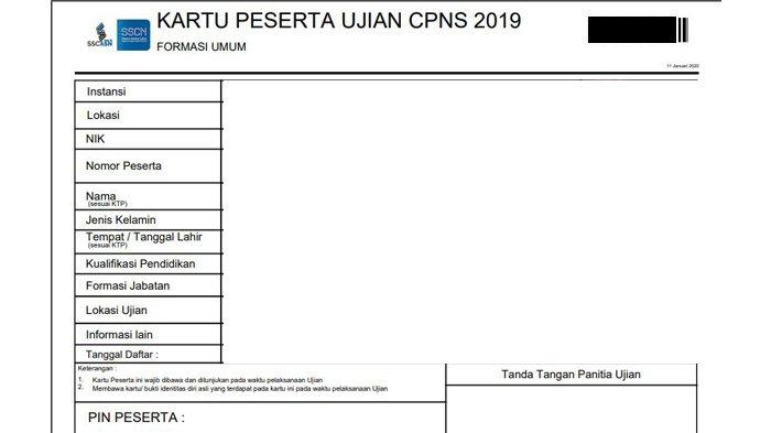 Kartu Ujuan CPNS 2019 lengkap (sscn.bkn.go.id)