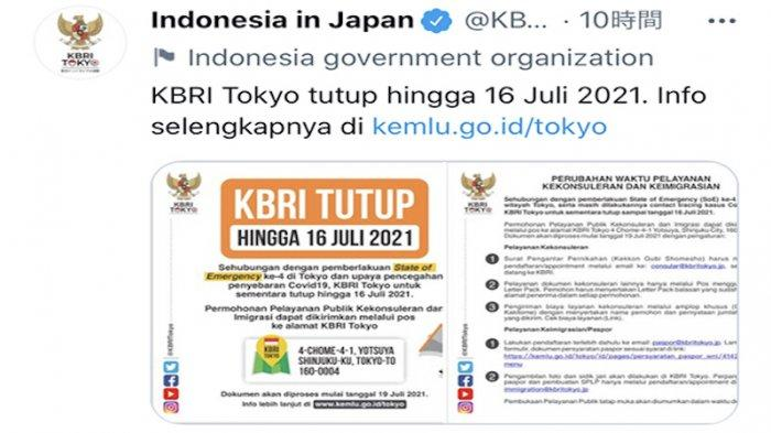 6 Staf Terinfeksi Positif Corona, KBRI Tokyo Jepang Tutup Hingga 16 Juli