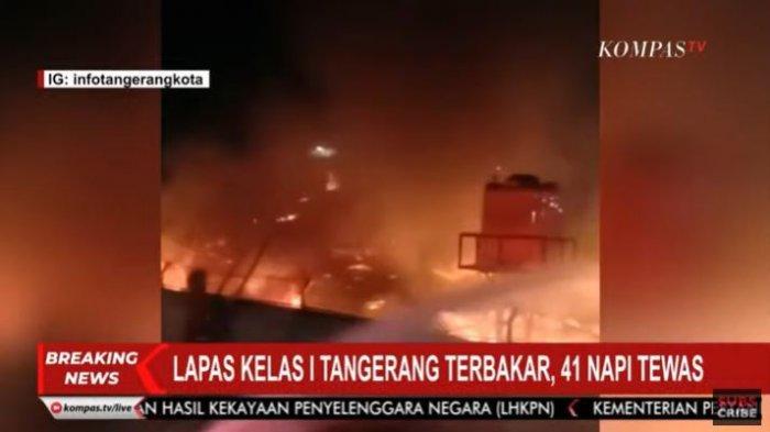 Kebakaran terjadi di Lapas Kelas I Tangerang yang berlokasi di Jalan Veteran, Tangerang, Banten, Rabu (8/9/2021) sekitar pukul 02.00 WIB.