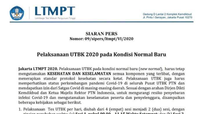 Pelaksanaan UTBK 2020 pada Kondisi New Normal.