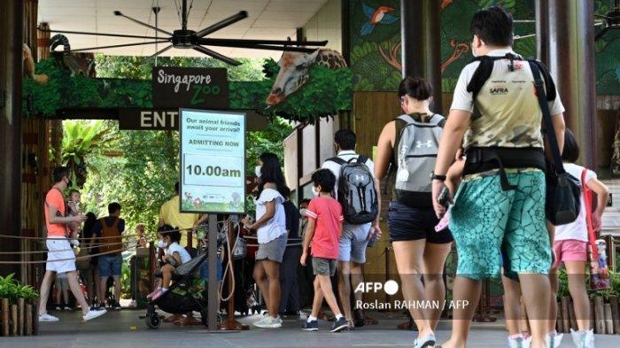 Pengunjung mengantri untuk memasuki Kebun Binatang Singapura di Singapura pada 6 Juli 2020, pada hari pertama dibuka kembali untuk umum setelah atraksi ditutup sementara karena kekhawatiran tentang virus corona baru COVID-19.