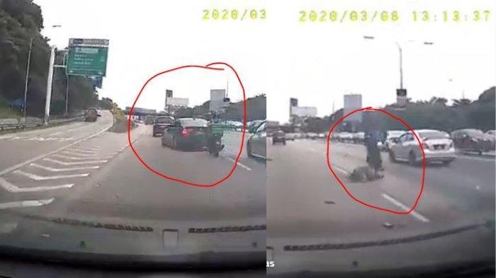 Video Detik-detik Motor Tabrak BMW hingga Jatuh Terpental Gara-gara Pengemudi Mobil Memotong Jalan