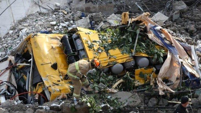Bangunan 5 Lantai di Korea Selatan Runtuh Timpa Bus, 9 Orang Tewas dan 8 Lainnya Luka Parah