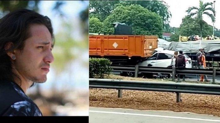 Kecelakaan lalu lintas di ruas Tol JORR KM36 arah Cikunir, Bekasi, Jawa Barat, yang melibatkan pesinetron Dylan Carr, Kamis (31/10/2019). bagian depan mobil masuk kolong truk.