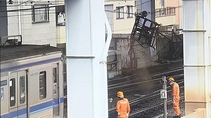 Kecelakaan Keisei Line di Stasiun Aoto Katsushikaku, Jumat (12/6/2020) sekitar pukul 10.15 waktu Jepang.