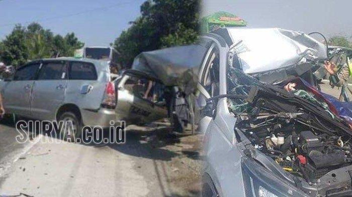 Kecelakaan maut Innova vs Bus Mira di Nganjuk Senin (9/9/2019), 3 orang tewas dan 1 luka berat.
