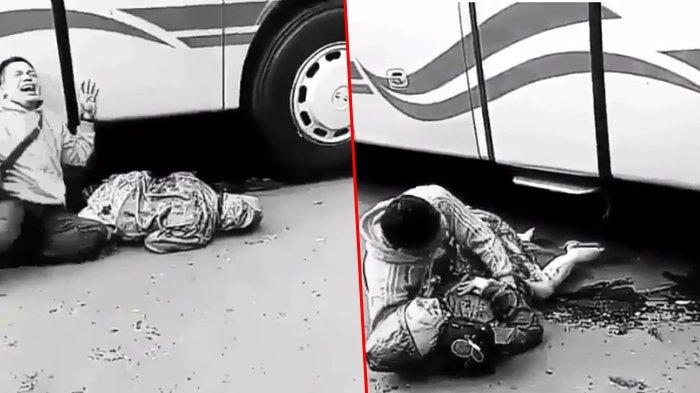Sedih Banget! Detik-detik Pria Bangunkan Kekasihnya di Kolong Bus, Padahal Sudah Mau Nikah