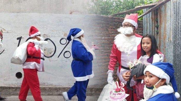 Pasangan Suami Istri Muslim di Solo Ini Jadi Santa Claus Demi Anak Yatim, Bawa Hadiah dan Kue