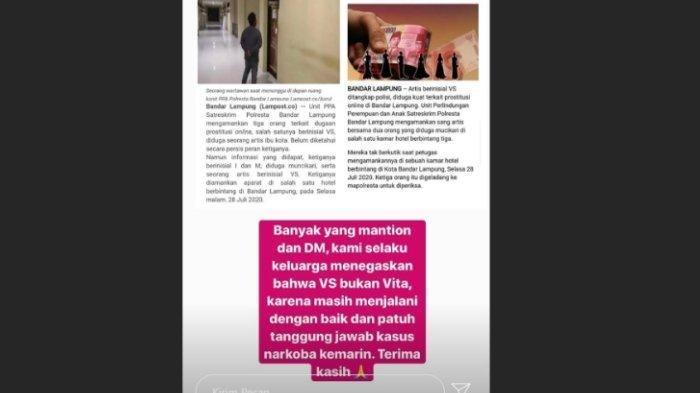 Keluarga mengonfirmasi artis VS yang ditangkap atas prostitusi bukan Vitalia Shesya, diunggah Rabu (29/7/2020).