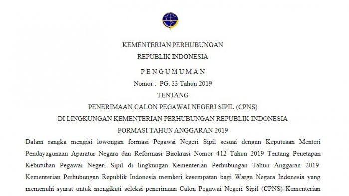 Pendaftaran CPNS Kemenhub 2019, Berikut Kriteria Pelamar dan Contoh Surat Lamaran