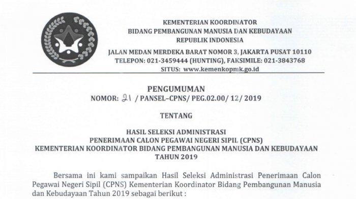 Kemenko PMK Rilis Nama-Nama yang Lolos Seleksi Administrasi CPNS 2019, Cek Nama Anda di Sini!