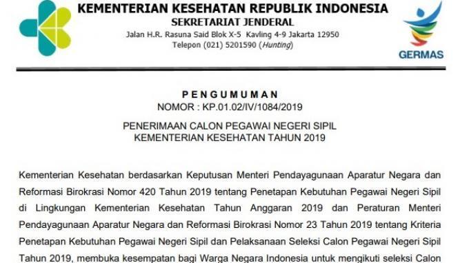 Kementerian Kesehatan Buka 2.205 Formasi dalam Rekrutmen CPNS 2019, Ini Syaratnya