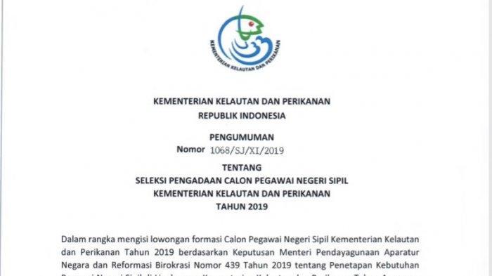 Kementerian Kelautan dan Perikanan  Buka 399 Formasi CPNS, Ini Jadwal dan Alur Pendaftaran di SSCN