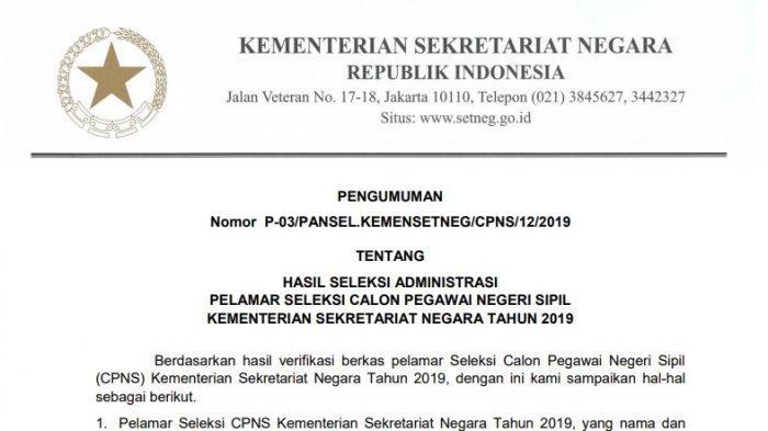 Kemensetneg Rilis Daftar Pelamar yang Lolos Seleksi Administrasi CPNS 2019, Cek Namamu di Sini