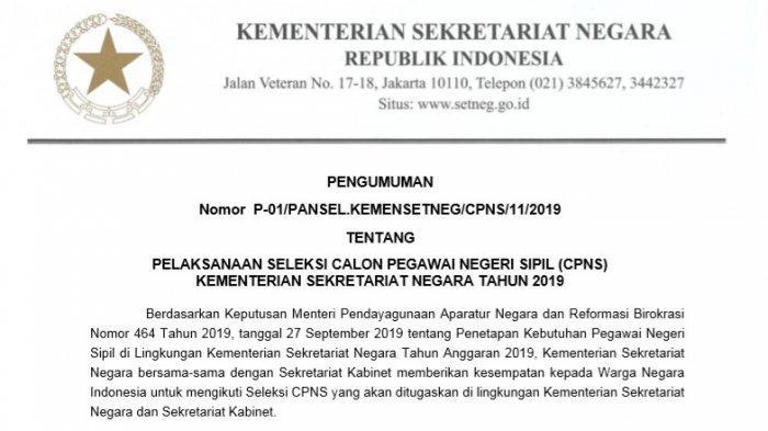 Kemensetneg Rilis 60 Formasi CPNS 2019, Simak Daftar Lowongan yang Dibuka