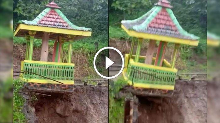 Detik-detik Bangunan Penyimpan Kentongan di Kediri Longsor Diterjang Banjir, Videonya Viral