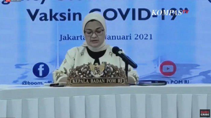 Kepala BPOM, Penny K Lukito saat jumpa pers, Senin (11/1/2021).