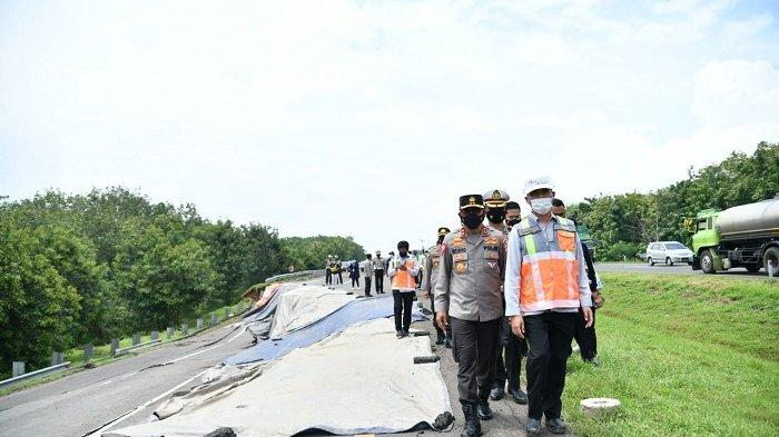 Ada Jalan Amblas, Korlantas Polri Berlakukan Contra Flow di KM 117-126 Tol Cipali